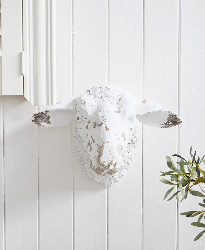 Decorative White Sheep Head Wall Decor designed to perfectly complement our New England Coastal and Country home interiors with our bedroom, living room anf hallway white furniture from The White Lighthouse