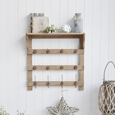 Pawtucket wooden wall shelf with twelve hooks