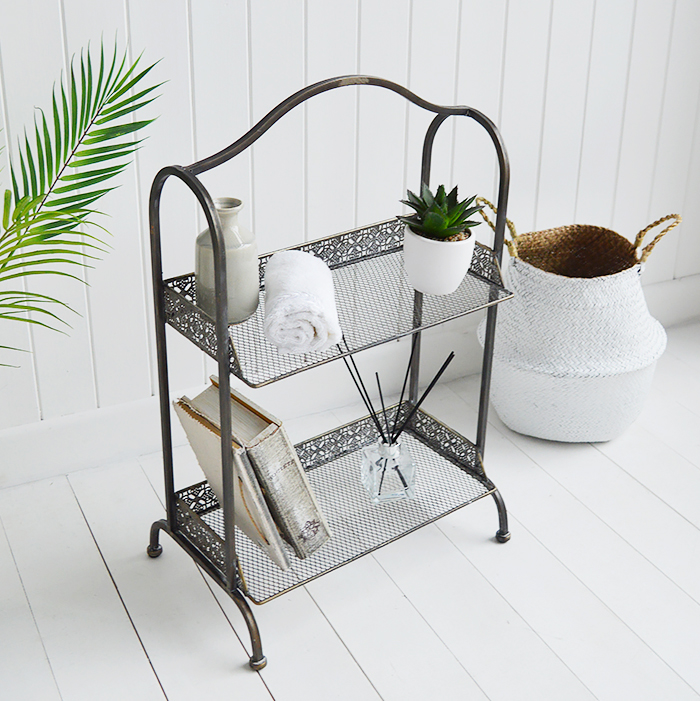 Provence freestanding shelf unit in aged bronze from The White Lighthouse Hall White  Furniture