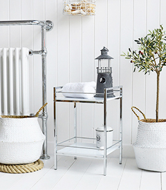 Hastings white and silver chrome shelves for bathroom storage