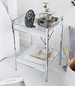 Hastings White and Silver Shelf Unit with 2 Shelves for bedside table, bathroom Shelving or Lamp Table
