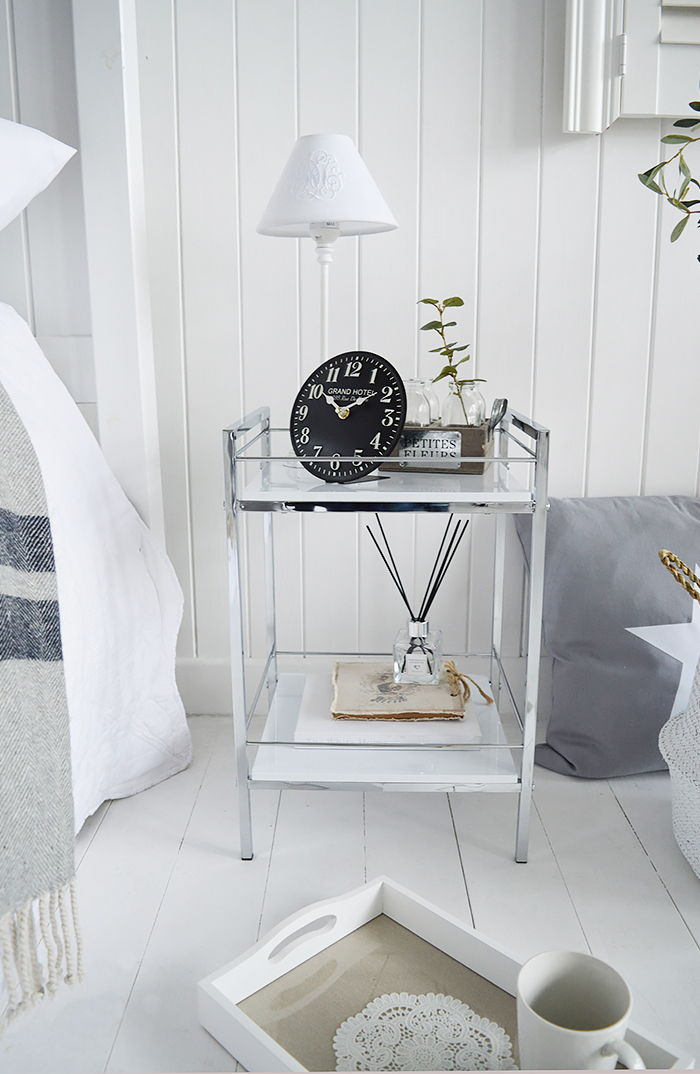 Hastings white and silver bedside table with 2 shelves