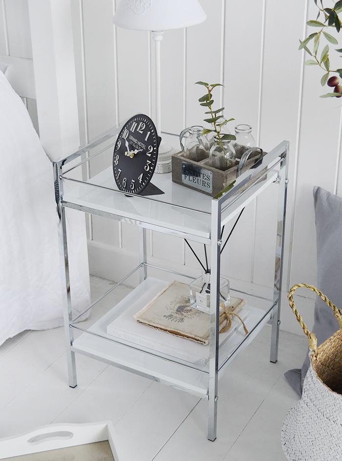 Hasting white silver Chrome Shelf unit freestanding bedside table two shelves