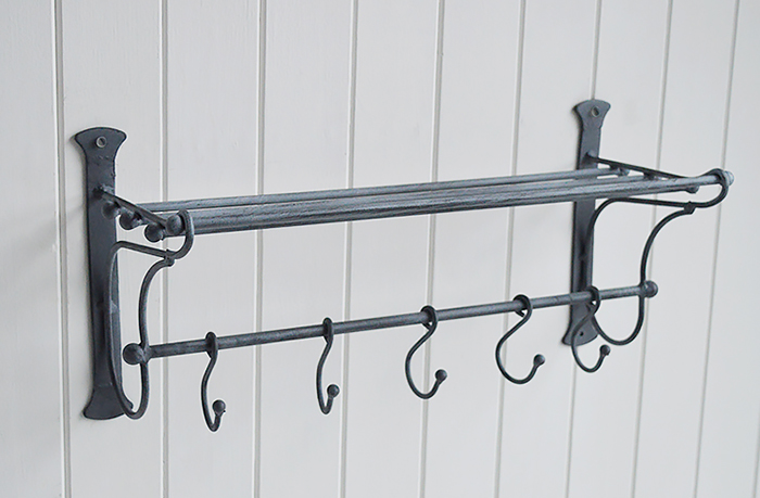 Marseille Metal Shelf with hooks for kitchen