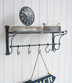 Marseille wall shelf with hooks for bathroom and Hallway furniture in New England, Coastal and Country home interiors