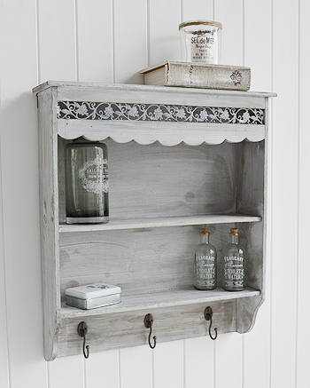 Grey Wall Shelf With 2 Shelves With Hooks From The White