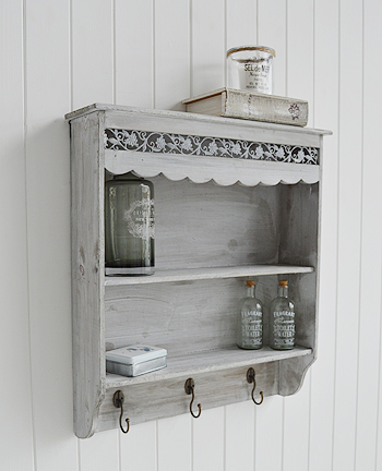 Grey wall shelf with 2 shelves with hooks from The White Lighthouse