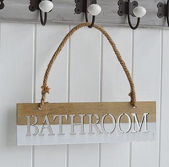 Bathroom Sign. Hanging Bathroom Sign