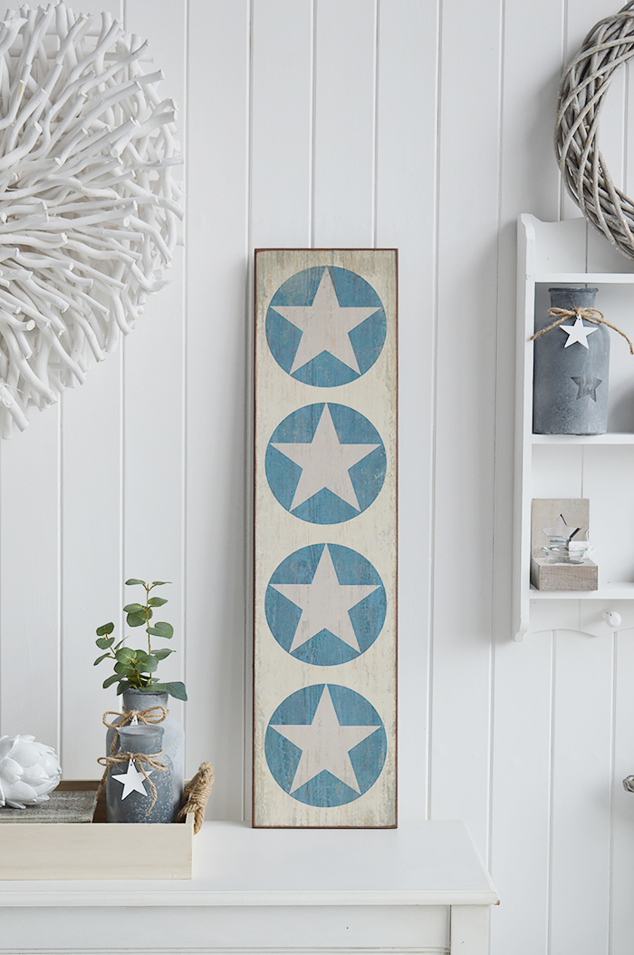 Large narrow sign with stars in blues and white for a traditional New England look to your room