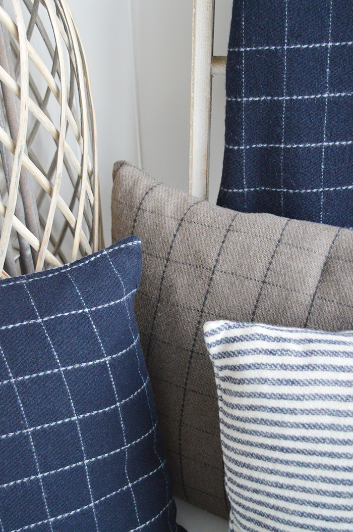 New England soft furnishings, cushions, throws, rugs an mats. New Hampshire cushions in checks and stripes