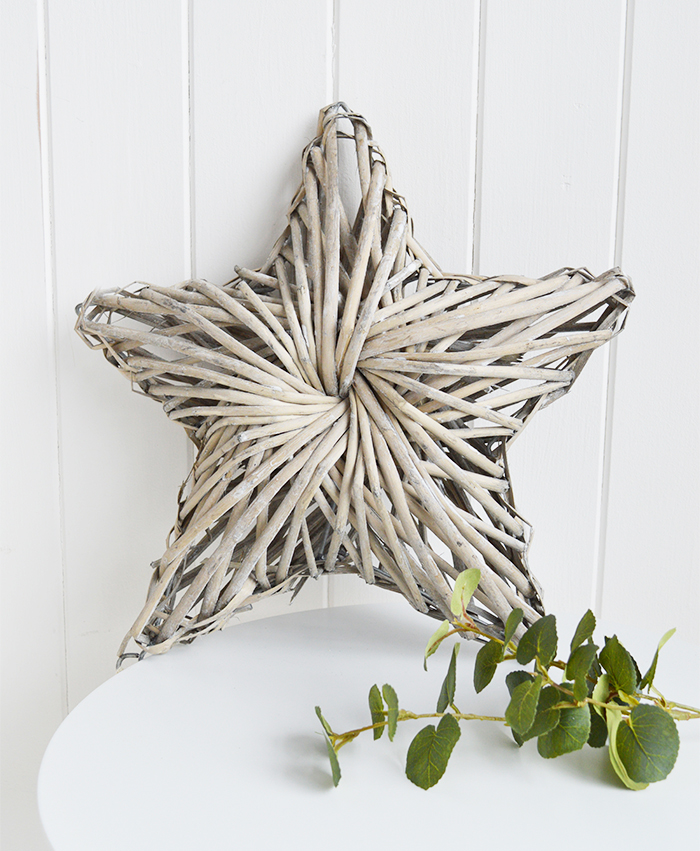 Chunky grey willow star for coastal, country and New England home furniture interiors from The White Lighthouse accessories