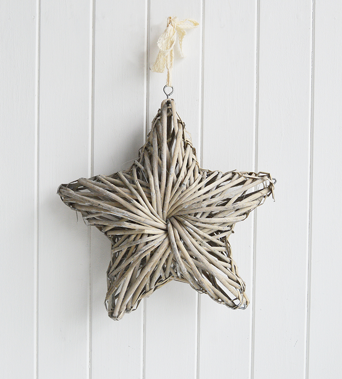 Chunky grey willow star for coastal, country and New England home furniture interiors from The White Lighthouse Home Accessories