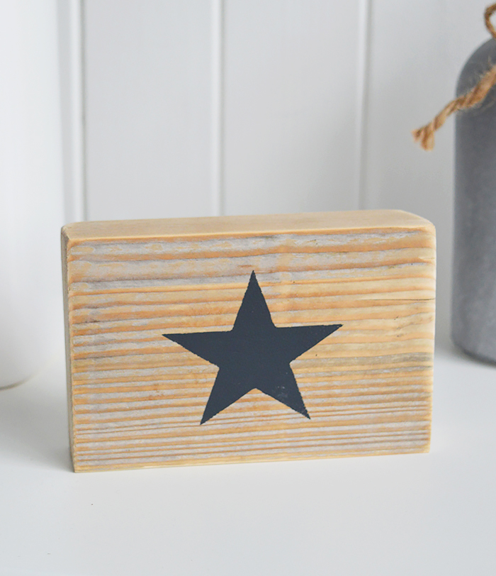 Free standing wooden star sign navy
