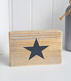 Free standing wooden star sign in navy