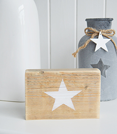 Free standing wooden star sign in white