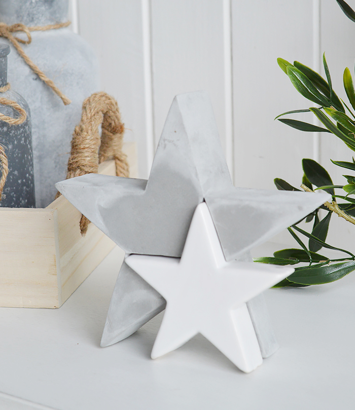 The White Lighthouse. White Furniture and accessories for the home. Grey and white stars designed to perfectly complement our New England Coastal and Country home interiors with our bedroom, living room and hallway white furniture