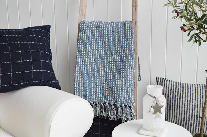Camden Blue Throw Blanket The White Lighthouse Furniture
