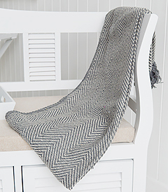Grey Herringbone throw, blanket or bedspread from The White Lighthouse Furniture and Home Interiors