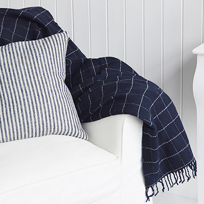 The Hampshire checks navy and ivory handloom woven tweed throw.