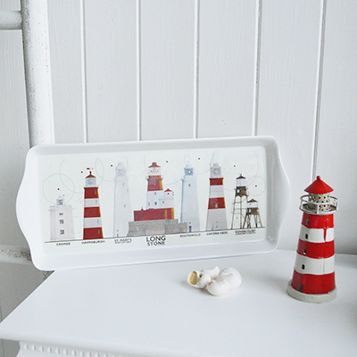 Lighthouse Sandwich Tray - Table Centre Piece for New England Style interiors for coastal, country and city home interiors from The White Lighthouse. Nautical Coastal Home Decor and Accessories