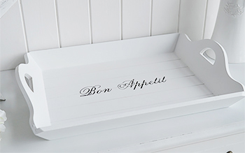 Large white tray with stencil