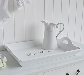 Lrge white tray with handles