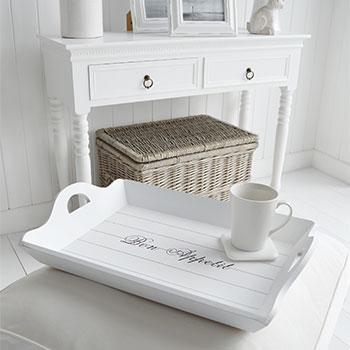 Large white tray to use footastool as a coffee table in your living room