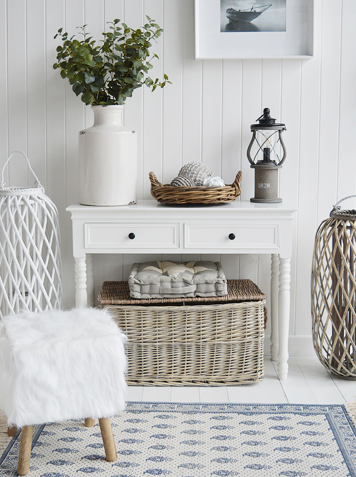 The White Lighthouse. White Furniture and accessories for the home. Casco Bay grey willow tray with handles for displaying home decor pieces in New England, Country and coastal home interior decor