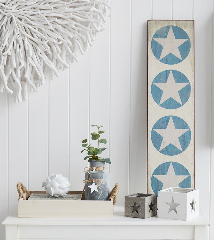 Wooden tray for display from The White Lighthouse Furniture on a console table for coastal and country interior design