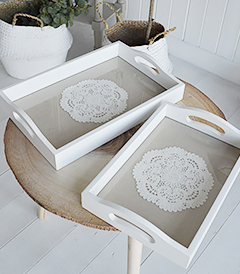 Set of 2 white trays from The White Lighthouse FNew England and Coastal Home Decor
