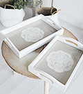 Set of 2 white trays for New England and Coastal Home Decor