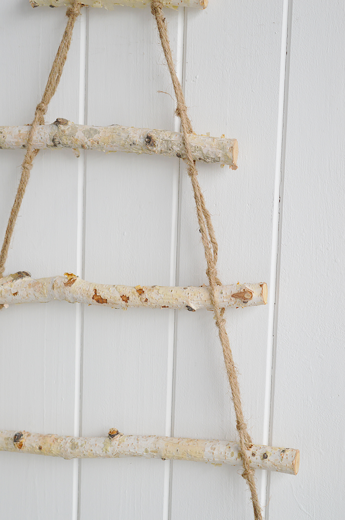 Simple Silver Birch tree ladder from The White Lighthouse Furniture and Home Decor for Hallway, Living room, Bedroom and bathroom in New England, Coastal, Country, City and white homes