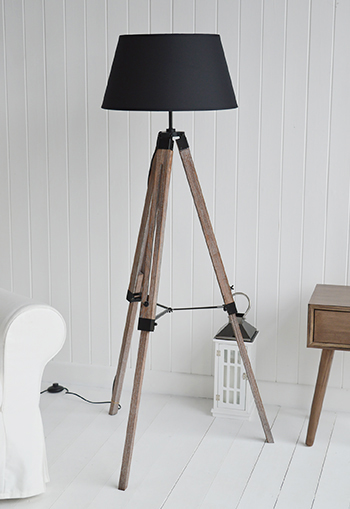 Tripod Floor Standing Lamp Black Shade The White Lighthouse