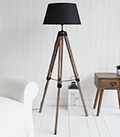 Scandi wooden black tripod  floor lamp