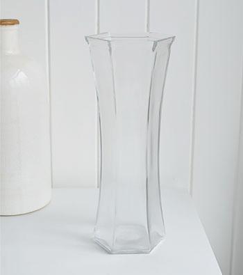 Six sided glass vase