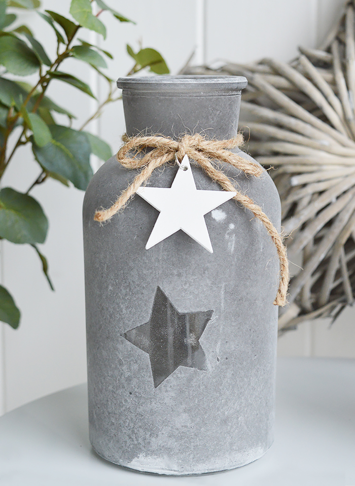 Grey star glass vases with white hearts from The White Lighthouse New England furniture