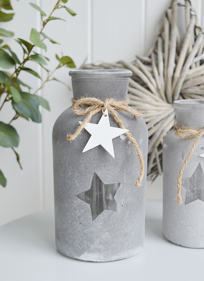 Grey star glass vases with white hearts