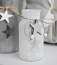 White and grey star glass vases with grey stars from The White Lighthouse Furniture. New England, coastal, country and city home interiors and furniture