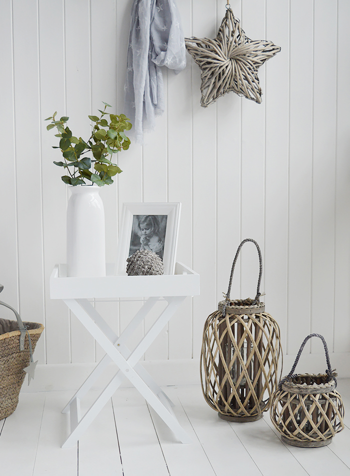 A white ceramic tall vase in simple designed to perfectly complement our New England Coastal and Country home interiors with our bedroom, living room anf hallway white furniture. Photographed here with our willow lanterns and Connecticut butler tray