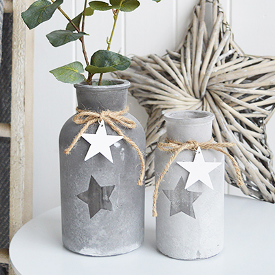 Grey star bottles or vases