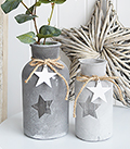 Grey star vases from The White Lighthouse Furniture for New England and Coastal Furniture