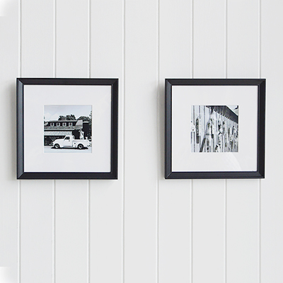 Set of two frames prints in square frames in New England style of home interiros. Can be wall hung or table decor