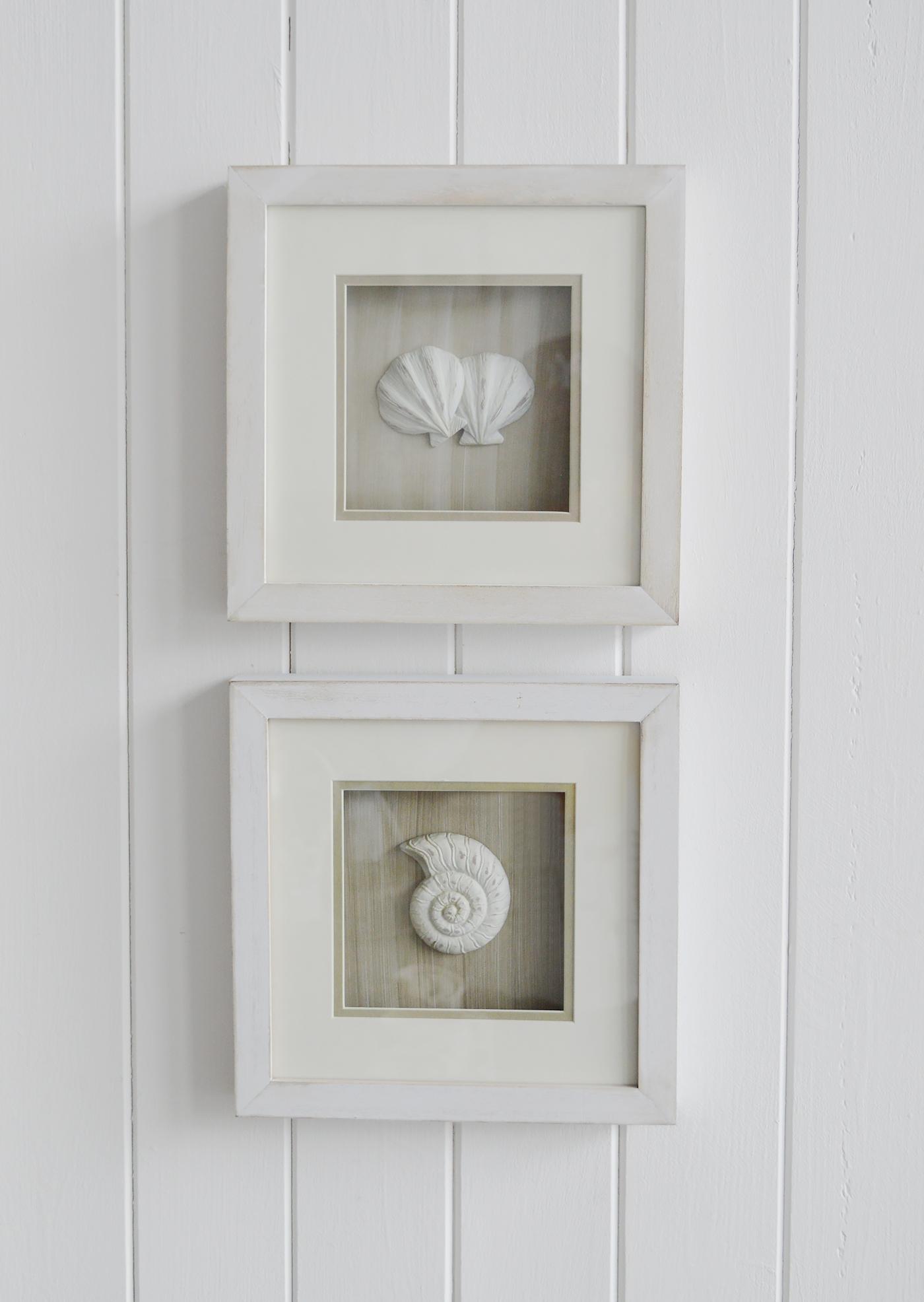 New England Wall Art Set Of Framed Coastal Shells