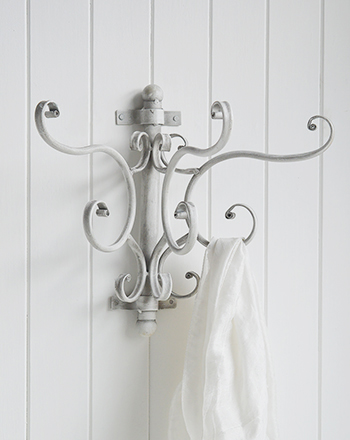 French Coastal Grey And White Wall Coat Rack