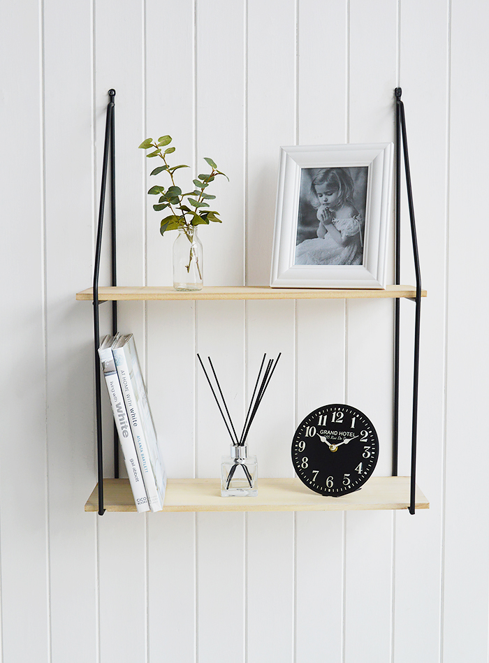 Boston Bohemian Industrial Wall Shelf with 2 shelves to create your own piece of wall art - shown here with books and a clock for the living room