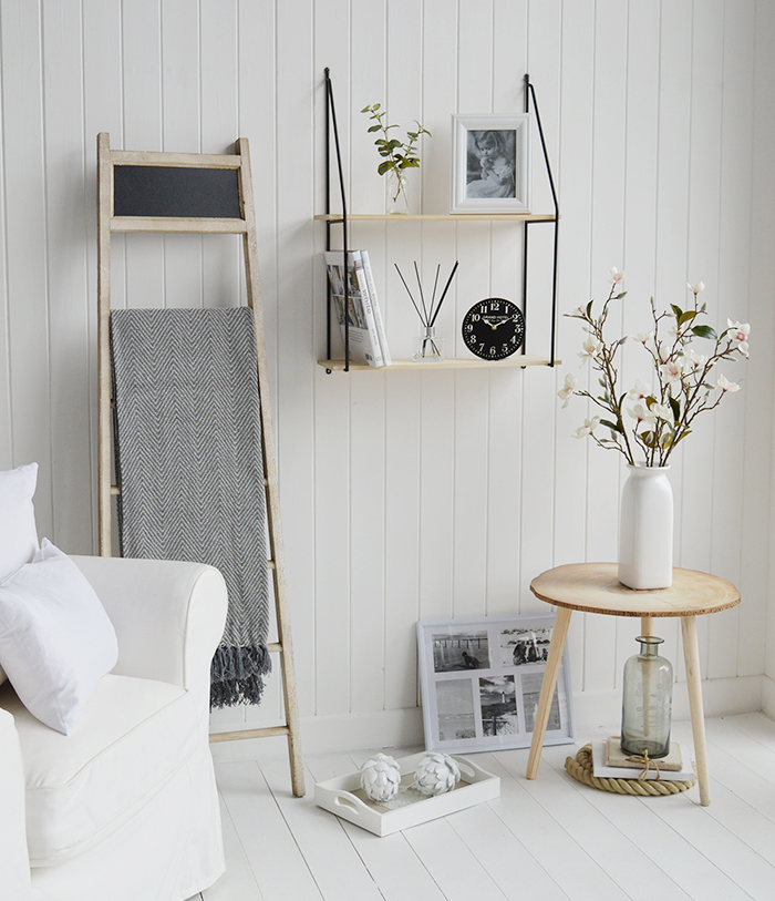 Boston Bohemian wall shelf with 2 shelves shown in a living room