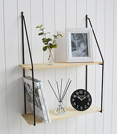 Boston Bohemian Industrial Wall Shelf with 2 shelves from The White Lighthouse New England Furniture