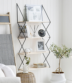 Boston Bohemian Industrial Tall Wall Book Shelf with 4 shelves