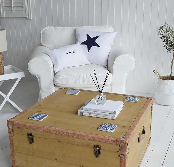 Blue and white coastal and nautical home decor for home interiors