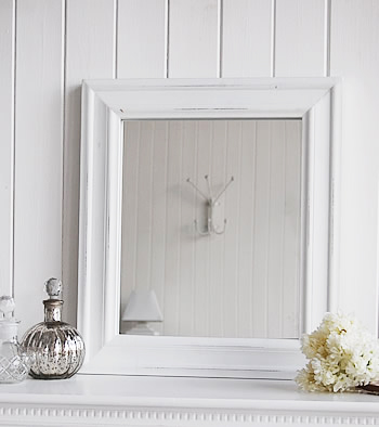 White mirrror, dressing table or wall hung